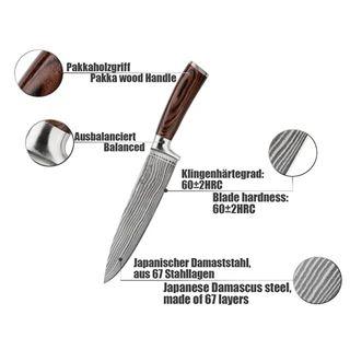 Wakoli 1DM-CHE-EDB Damastmesser VG-10