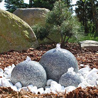 CLGarden Granit Springbrunnen SB1-3 teiliger Kugel Brunen Granitbrunnen