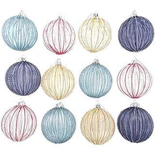 My-goodbuy24 12er Set Weihnachtskugeln Echtglas Glaskugeln Weihnachten