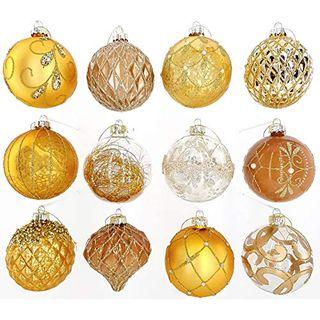 My-goodbuy24 12er Set Luxus Weihnachtskugeln Set D