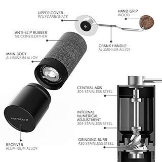 Normcore Manuelle Kaffeemühlen Premium Kaffeemühle manuell aus Edelstahl kegelmahlwerk Mahlwerk
