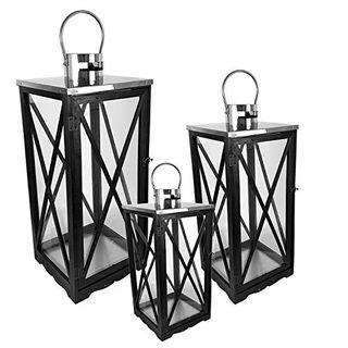 FineHome 3er Holz Laternen-Set XL H34