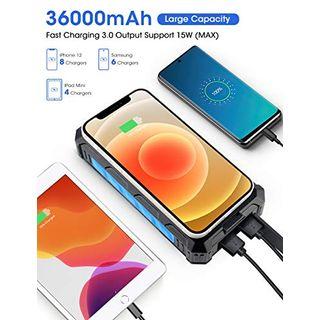 DJROLL 36000mAh Qi Wireless Solar Powerbank