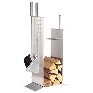 HARK Kaminbesteck Holzablege Edelstahl matt
