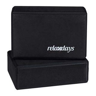 Relaxdays Unisex Erwachsene Schwarz Yogablock im 2er Set