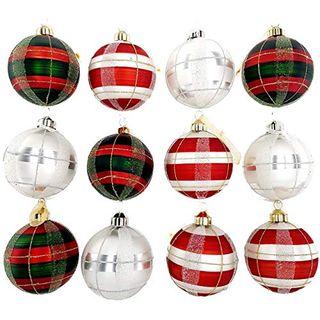 My-goodbuy24 12-teiliges Set Luxus Weihnachtskugeln Echtglas Glaskugeln