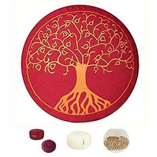 maylow Yoga mit Herz Yogakissen Meditationskissen mit Stickerei Baum des Lebens