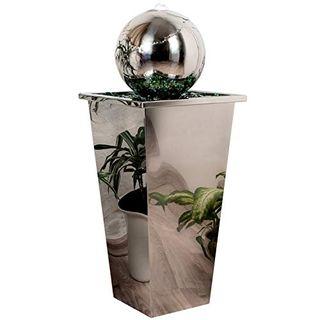 Köhko Springbrunnen mit LED-Beleuchtung in eckigen Edelstahlbecken hochglanzpoliert