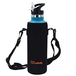 iParaAiluRy Trinkflasche Edelstahl mit Bambus Kappe 1L