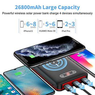 Aikove Wireless Powerbank,26800mAh Solar Externe Handy Akku