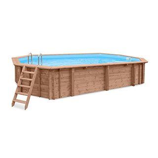 Interline 50700250 Bali Auf-und Erdeinbau Holzwand oval Pool 8,40m x 4,90m