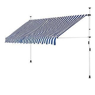 Detex Klemmmarkise 300cm x 180cm Blau-Weißmit Handkurbel Balkonmarkise