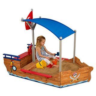 KidKraft 128 Piratenschiff Sandkasten aus Holz Gartenmöbel