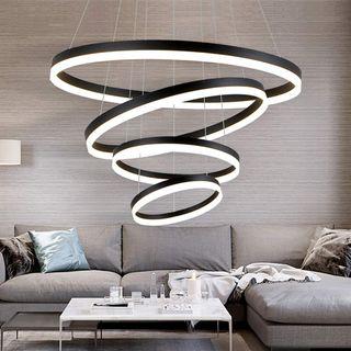 LED 127W Dimmbar Hängeleuchte Schwarz Modern Rund 4-Ring