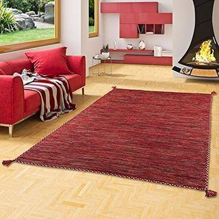 Natur Teppich Bauwolle Kelim Prico Terrakotta in 8 Größen