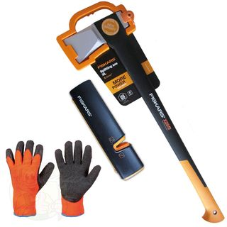 FISKARS Set Spaltaxt X25 XL + Messerschärfer + Handschuhe