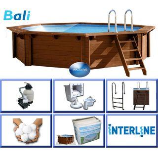 Interline 50700210 Bali Auf-und Erdeinbau Holzwand Rund Pool 4,40m x 1,36m
