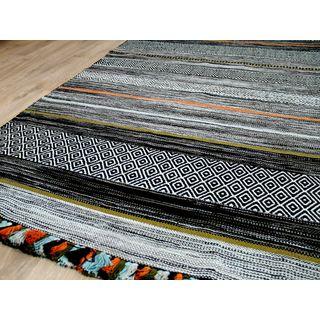 Natur Teppich Bauwolle Kelim Kalleen Anthrazit in 6 Größen