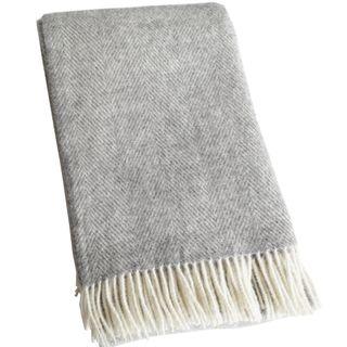 Lange creme-graue Fischgrat Wolldecke aus 100% neuseeländischer Schurwolle