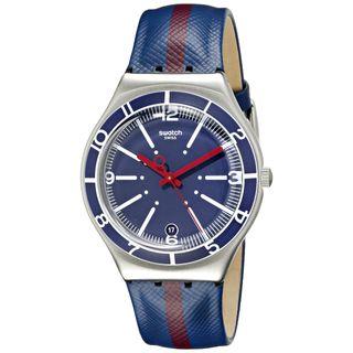 Swatch Herren-Armbanduhr Analog Quarz Leder YGS467