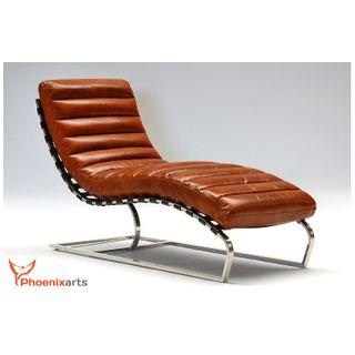 Phoenixarts Chaise Echtleder Vintage Leder Relaxliege Braun Design