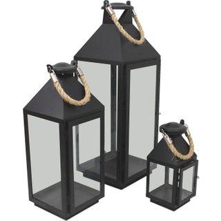 Wohaga 3er Set Laternen mit Henkel H24/41/55cm aus Metall