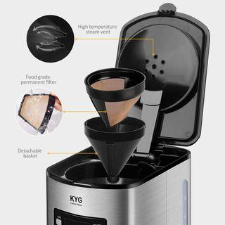 Kaffeemaschine KYG Filter-Kaffeemaschine mit Timer-Funktion 1,8 Liter Glaskanne 1000 Watt schwarz