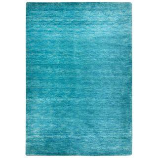 Morgenland Gabbeh Teppich Türkis UNI Einfarbig Handgewebt Schurwolle 300 x 200 cm