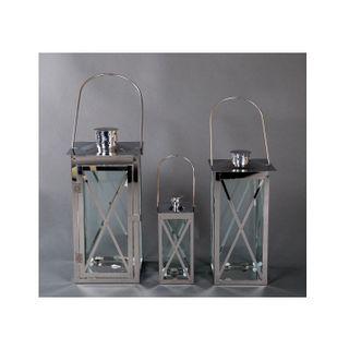 BURI Edelstahl Laternen-3er-Set Gartenlaterne Terrassendeko Windlicht Kerzenhalter