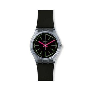 Swatch Armbanduhr Leder Sonstige Analog Quarzwerk Silikonband GM189