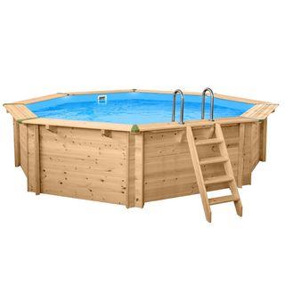 Interline 50700230 Bali Auf-und Erdeinbau Holzwand Rund Pool 6,55m x 1,36m