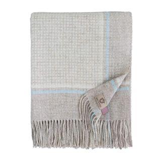 Linen & Cotton Wolldecke Merino Mosaic mit Fransen