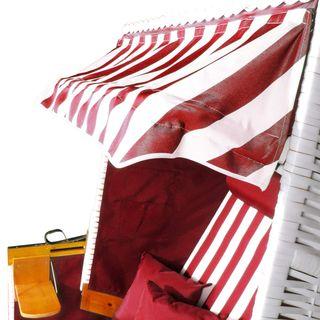 BRAST Strandkorb Nordsee XXL Volllieger Weiß Rot gestreift incl