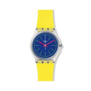 Swatch Armbanduhr Leder Sonstige Analog Quarzwerk Silikonband GE255