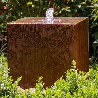 """Köhko Würfelbrunnen """"Peru"""" Höhe 49 CM Gartenbrunnen 31004 aus Cortenstahl"""