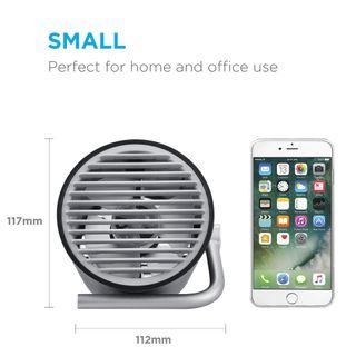 Kleiner USB Ventilator Ultra Leise Mini Tischventilator mit Doppelturboblättern