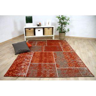 In & Outdoor Teppich Flachgewebe Carpetto Terrakotta Patchwork