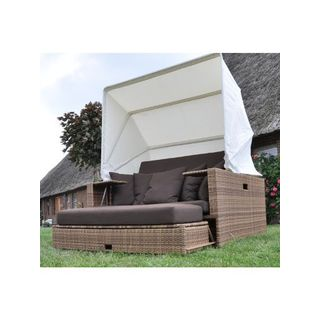 Polyrattan Liegeinsel Beach Lounge Mixed Beige Flachgeflecht