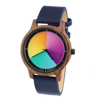 Rainbow Watch Cool Wood Walnuss Classic Blue Leather Unisex Armbanduhr