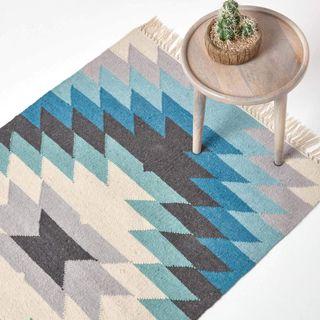 HOMESCAPES Kelim-Teppich Helsinki handgewebt aus Wolle