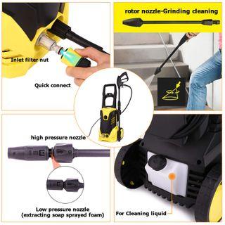 IPX5 2000 W Hochdruckreiniger max. 150 bar 360 L/H tragbar mit 2 Rollen Quick Connect System, mit transparenter Wasserfilter und 2 Düse Ideal für Auto, Haushalt oder Gartenreinigung
