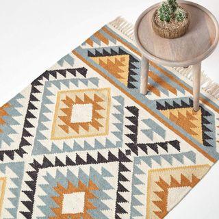 HOMESCAPES Kelim-Teppich Agra handgewebt aus Wolle