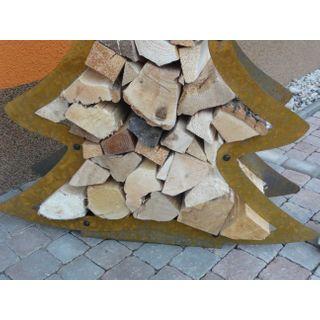 Kaminholzregal Tannenbaum aus Cortenstahl