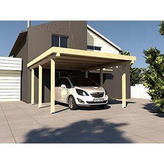 Carport Flachdach Avus Xxiii 300 x 500 cm KVH Bausatz Konstruktionsvollholz