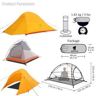GEERTOP Campingzelt Ultraleichte 2 Personen Doppelten Zelt 3