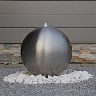 CLGarden 48cm großer Edelstahl Kugel Springbrunnen ESB5 gebürstet