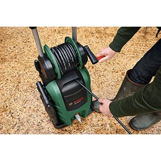 Bosch DIY Hochdruckreiniger AQT 45-14X (Hochdruckpistole, Terassenreiniger, 3 Lanzen, Metallfilter, 2 Düsen, 5m Netzanschlusskabel, 8m Hochdruckschlauch, Karton (2100W, 140 bar, 450 l/h))