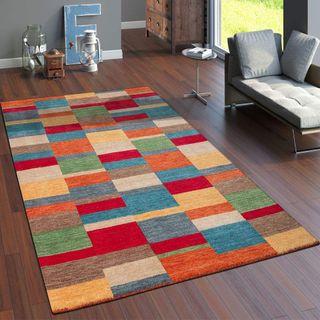 Paco Home Teppich Handgewebt Gabbeh Hochwertig 100% Wolle Meliert