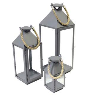 Wohaga 3er Set Laternen mit Henkel H24/41/55cm aus Metall Grau