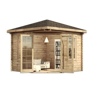 Alpholz Modernes 5-Eck Holz Gartenhaus Victor
